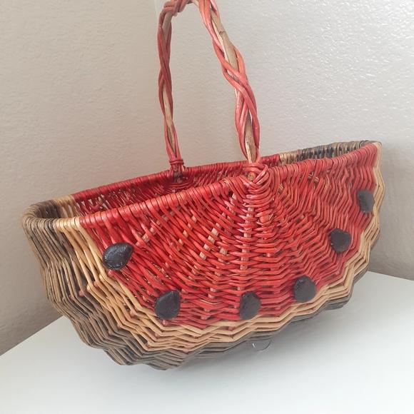 Wicker Watermelon Shaped Basket